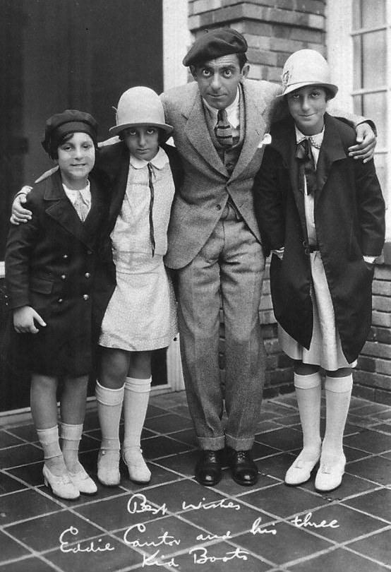 Eddie Cantor and daughters ad postcard 1926
