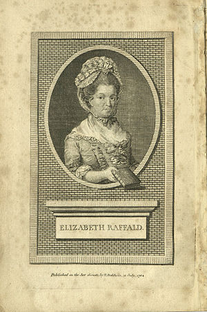 Elizabeth Raffald - Engraving of Elizabeth Raffald, from the 1782 edition of her cookery book
