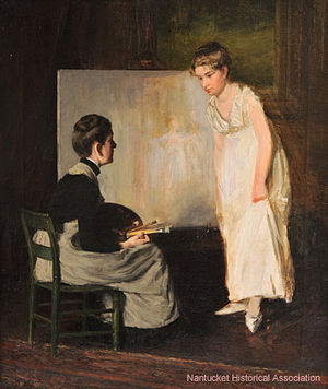 Elizabeth Coffin - Image: Elizabeth Rebecca Coffin, Portrait of the Artist in Conversation with Subject (unfinished), circa 1890