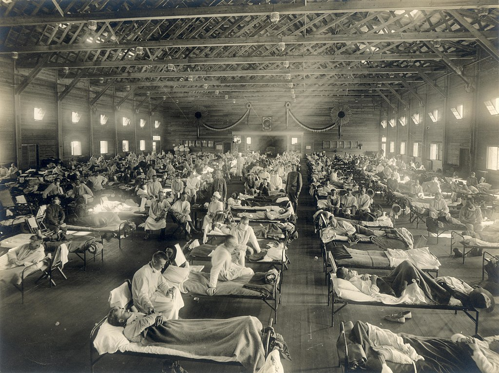 Soldiers from Fort Riley, Kansas, ill with Spanish flu at a hospital ward at Camp Funston, circa 1918.