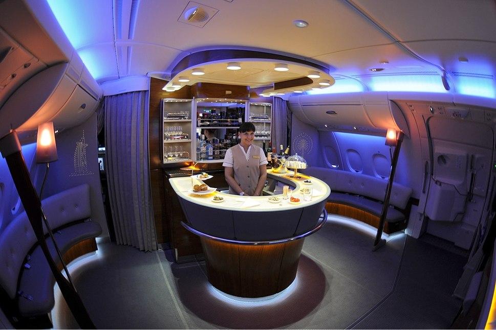 Emirates Airbus A380-861 onboard bar Iwelumo
