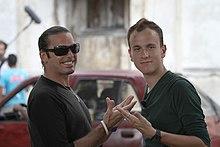 Enrico Silvestrin e il regista Alessandro Rota per le strade di Havana sul set del cortometraggio Thunderbird - muevete! realizzato nel 2010