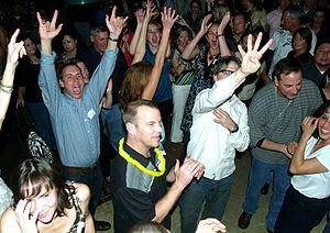 A crowd in Colorado Springs, Colorado, enthusi...