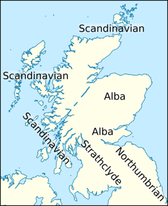 The kingdoms of Alba and Strathclyde, and the Scandinavian and Northumbrian territories in about 900. Eochaid, son of Rhun (map2).png