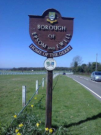 "Epsom and Ewell - One of the ""Borough of Epsom and Ewell"" signs placed at a boundary, on Epsom Lane North, Epsom Downs."