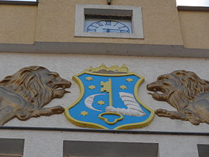 Humenné - Coat of Arms of the town of Humenné, on the façade of a historical building in the centre of the town