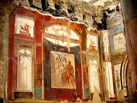 Interior of the College of the Augustales at Herculaneum Ercolano fresque sacellum 2.JPG