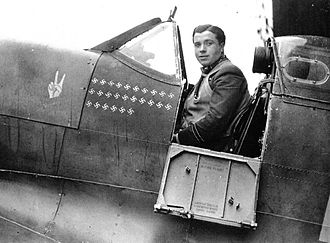 Eric Lock - Lock in the cockpit of his Spitfire. Just below the cockpit are 26 Swastika emblems denoting aerial victories. Lock has already recorded his final kill – on 14 July 1941. Shortly after this photo was taken, Lock disappeared.