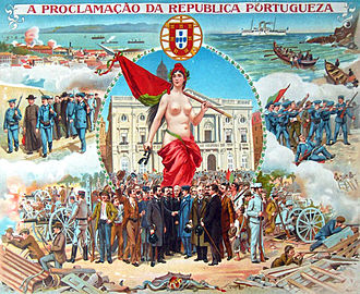 5 October 1910 revolution - Contemporary commemorative illustration of the Proclamation of the Portuguese Republic on 5 October 1910.