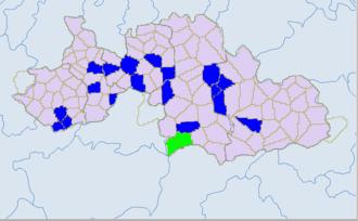 Yibin - Ethnic townships in South Sichuan: Yibin and Luzhou. Light green -Yi. Blue - miao.