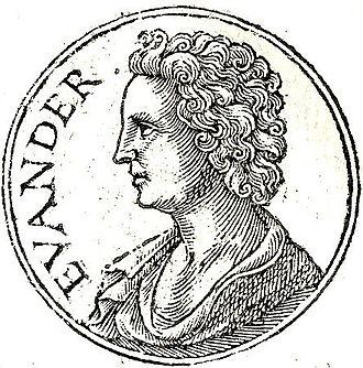 """Evander of Pallene - Evander from """"Promptuarii Iconum Insigniorum"""""""