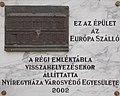 Európa Szálló emléktáblája (Kulcsár Írisz, 2002), 2017 Nyíregyháza.jpg