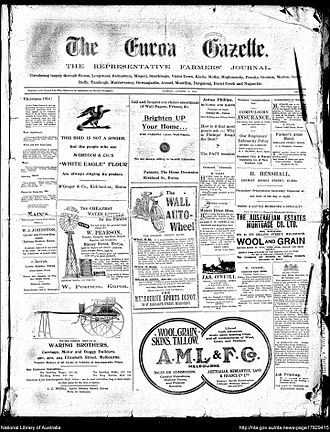 Euroa Gazette - Front page of the Euroa Gazette, 5 January 1915