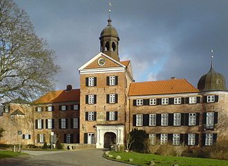 Eutin Castle - View from the castle square to the main facade with its gate tower