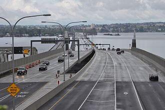 Evergreen Point Floating Bridge (2016) - Viewed from the east end in Medina shortly after opening in April 2016
