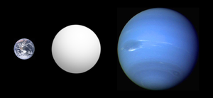 Size comparison of Kepler-10c with Earth and Neptune