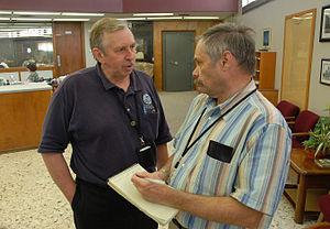 Enid News & Eagle - Image: FEMA 31867 A newspaper reporter interviews a FEMA Public Information Officer