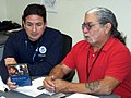 FEMA - 42286 - FEMA's FCO, Jaime E. Forero and Art John, Director – Emergency Response for the Seneca Nation of Indians, discuss plans to conduct a FEMA for Kids event in New York.jpg