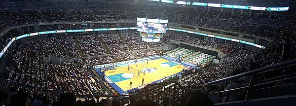 Panorama shot inside the Mall of Asia Arena during the 2016 FIBA Olympic Qualifying Tournament game between the Philippines and France