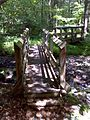 FLT M24 2.72 mi - Bridges over Bowman Creek, 12' and 8' long, 2x6x36 deck boards, 2 pairs 2x10 stringers, log sills, 2 hand rails with 4x6 posts, 3.5' to drainage - panoramio.jpg