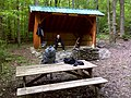 FLT M27 2.2 mi - Getter Hill Lean-to, 9' x 13', post ^ beam construction, with table, fireplace, privy, stone patio, nearby stream - panoramio.jpg