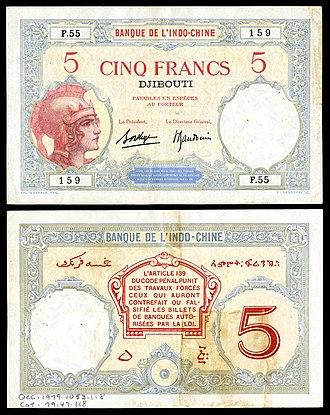 Djiboutian franc - Image: FRA Somaliland 11 Banque de l'Indochine (Djibouti) 5 Francs (1943)