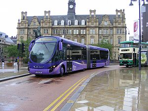 Wright StreetCar - A Wright StreetCar in use on FirstGroup's ftr service in Leeds city centre.