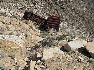 San Diego and Arizona Eastern Railway - Fallen Southern Pacific Railroad Cars in Carrizo Gorge, 2010.