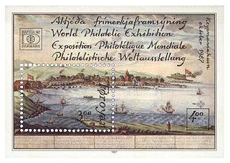 Miniature sheet - Image: Faroe stampsheet 153 Hafnia 1987 II Torshavn, Western Bay