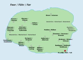Föhr - Trilingual map of Föhr (North Frisian, German and Danish place names)