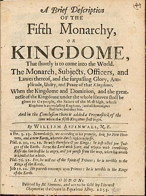 Fifth Monarchists - Title page of A Brief description of the Fifth Monarchy or Kingdome (1653) by William Aspinwall.