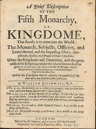 Four kingdoms of Daniel - Title page of A Brief description of the Fifth Monarchy or Kingdome (1653) by William Aspinwall.
