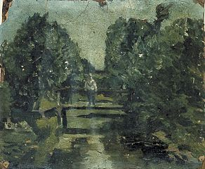 Figure on a Bridge in a Forest