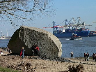 "Othmarschen - Glazier erratic ""Alter Schwede"". Found in the river Elbe now at the beach in Othmarschen"