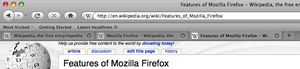 Tab (GUI) - An example of Mozilla Firefox with two tabs open. Each tab shows a different webpage, thus allowing multiple pages to be contained within a single browser window.