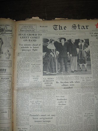 Palmietfontein Airport - Newspaper article published in The Star of 3 May 1952 regarding the world's first commercial jet flight which took place from London to Palmietfontein Airport in Johannesburg, South Africa.