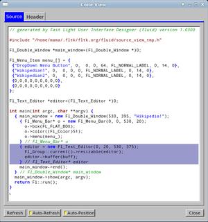 FLUID - Image: Fl code view