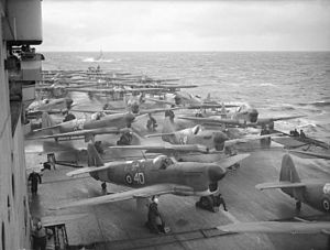Implacable-class aircraft carrier - Fairey Fireflies (front) and Fairey Barracudas (rear) aboard Implacable preparing for a mission off Norway, 26 November 1944