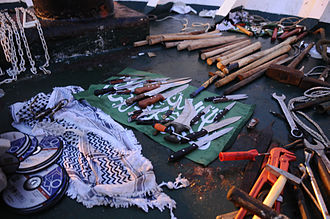 Gaza Freedom Flotilla - Knives, wrenches, and wooden clubs used to attack the soldiers during the flotilla raid.