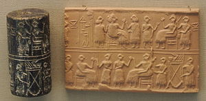 Art of Mesopotamia - Cylinder seal with impression; banquet scene, Ur, c. 2600 BC
