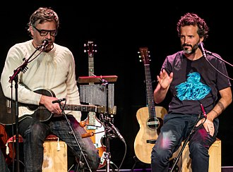 Flight of the Conchords - Jemaine Clement (left) and Bret McKenzie (right) performing in London in 2018
