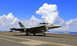 Flight Operations in progress on board USS Theodore Roosevelt as Indian and Japanese warships steampast during Malabar 2015.jpg