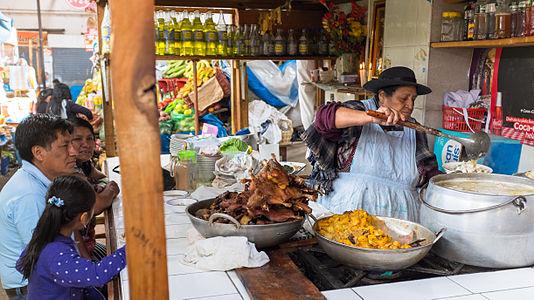 Food market in Cajamarca, Peru.