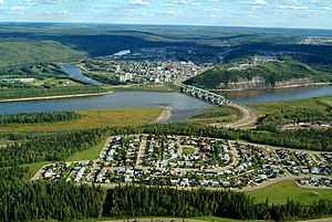 Fort McMurray - Aerial view of Fort McMurray with Athabasca River