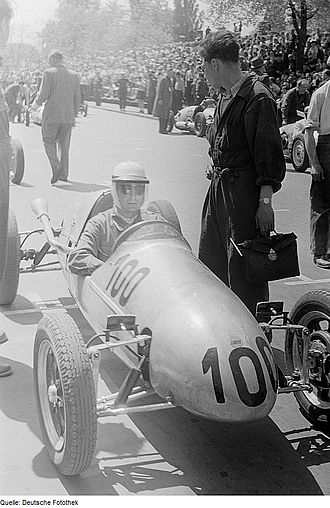 Theo Helfrich - Theo Helfrich sitting in his MkVIII Cooper 500 Formula Three car, at the 6th Leipziger Stadtparkrennen, 16 May 1954