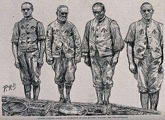 Broad arrow - British convicts in uniforms bearing broad arrows: a late 19th-century print