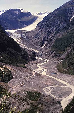 Soil mechanics - Fox Glacier, New Zealand: Soil produced and transported by intense weathering and erosion.