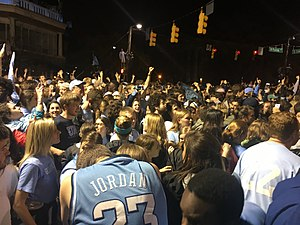 Franklin Street (Chapel Hill) - Franklin Street victory celebration after the 2017 NCAA Division I Men's Basketball championship