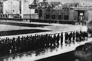Operation Kutschera - Kutschera's funeral procession in Adolf Hitler Platz in Warsaw