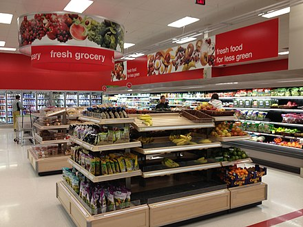 Food section of a Target store in Silverthorne, Colorado in December 2012. Fresh food section at Target in Silverthorne, CO.jpg